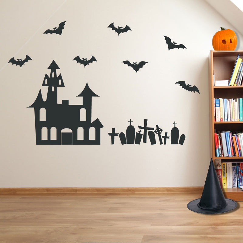 Halloween Grave Yard House Creepy Party Window Wall Stickers Decorations A121
