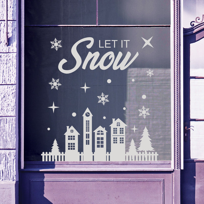 Christmas Shop Window Let Snow Baubles Decal Display Wall Stickers Festive B64