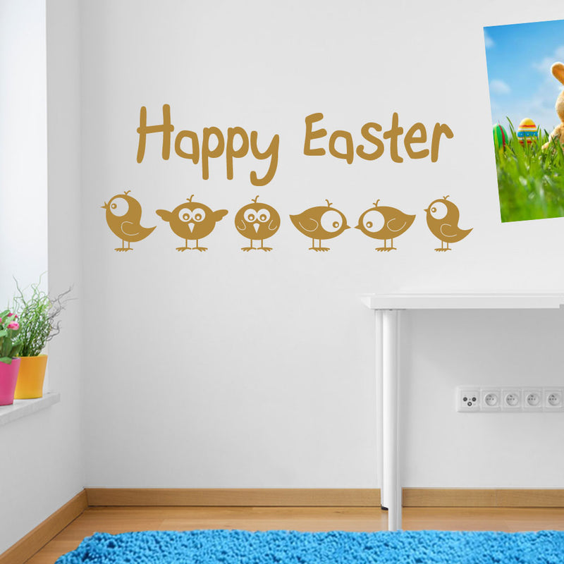 Happy Easter Chicks Birds Sticker Decal Wall Window Kid Decor Fun Colourful A149