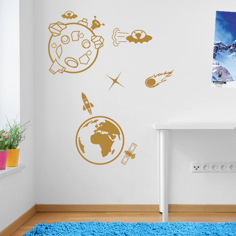 Earth Moon Alien Rocket Meteor Space Wall Window Stickers Decals Kids Decor A138
