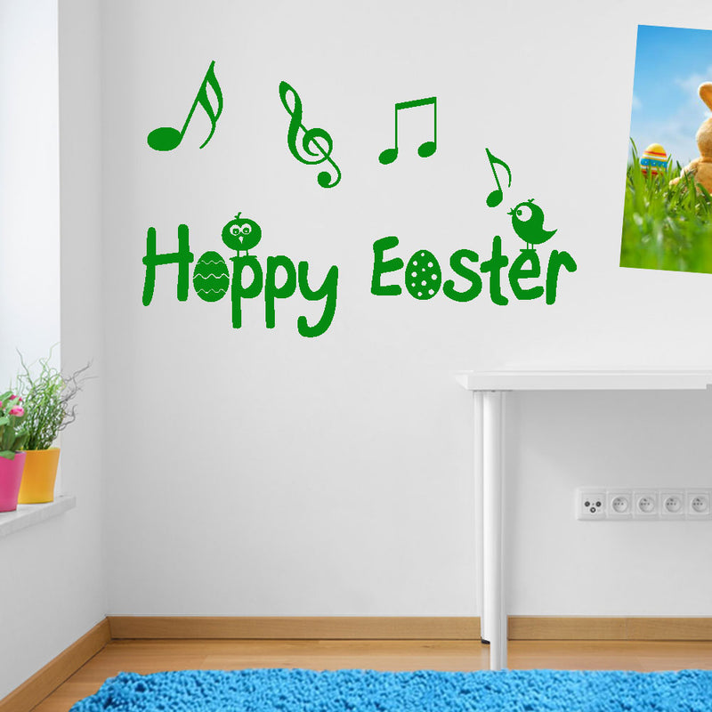 Happy Easter Music Notes Chicks Birds Sticker Decal Set Wall Window Decor A151