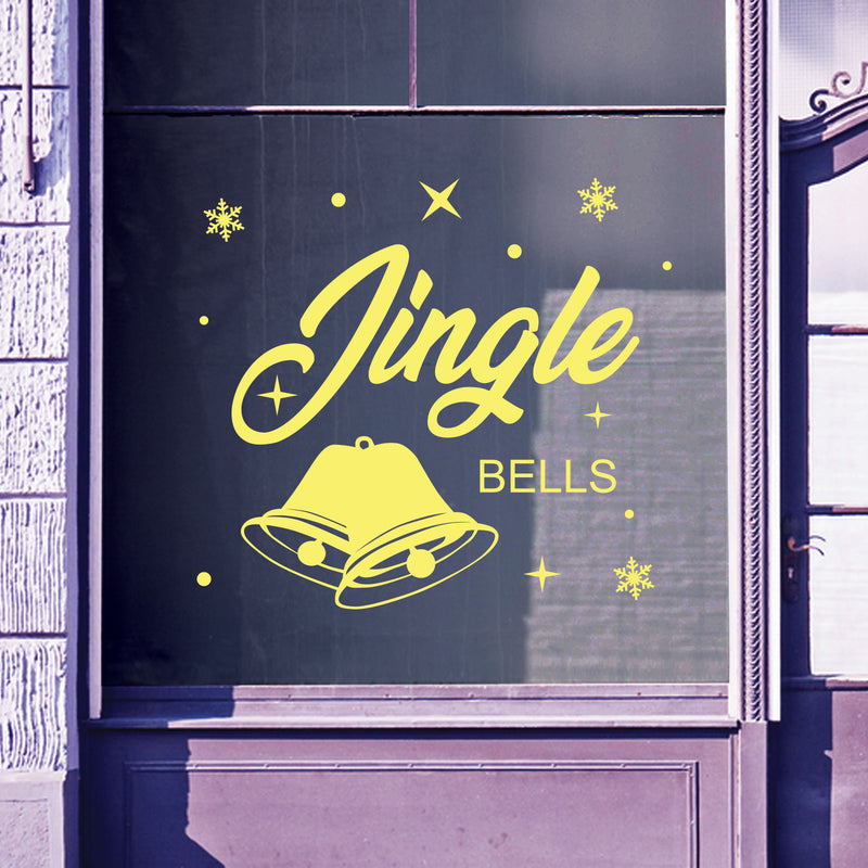 Christmas Shop Window Jingle Bells Display Xmas Wall Stickers Festive B55