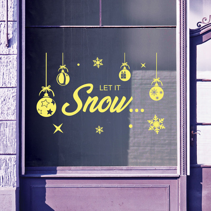 Christmas Shop Window Let It Snow Decal Display Xmas Wall Stickers Festive B57