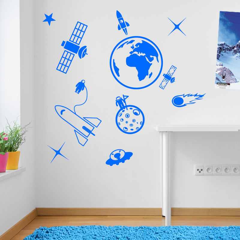 Earth Space Ship Rocket Satellite Wall Window Stickers Decals Kids Decor A137