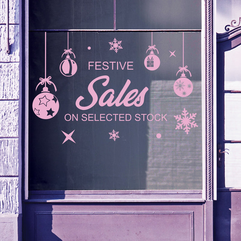 Christmas Shop Window Sale Xmas Baubles Decal Display Wall Stickers Festive B65
