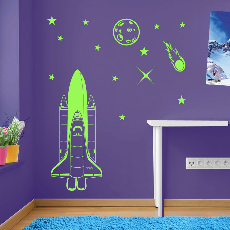 Rocket Planet Stars Meteor Space Wall Window Stickers Decals Kids Decor A139