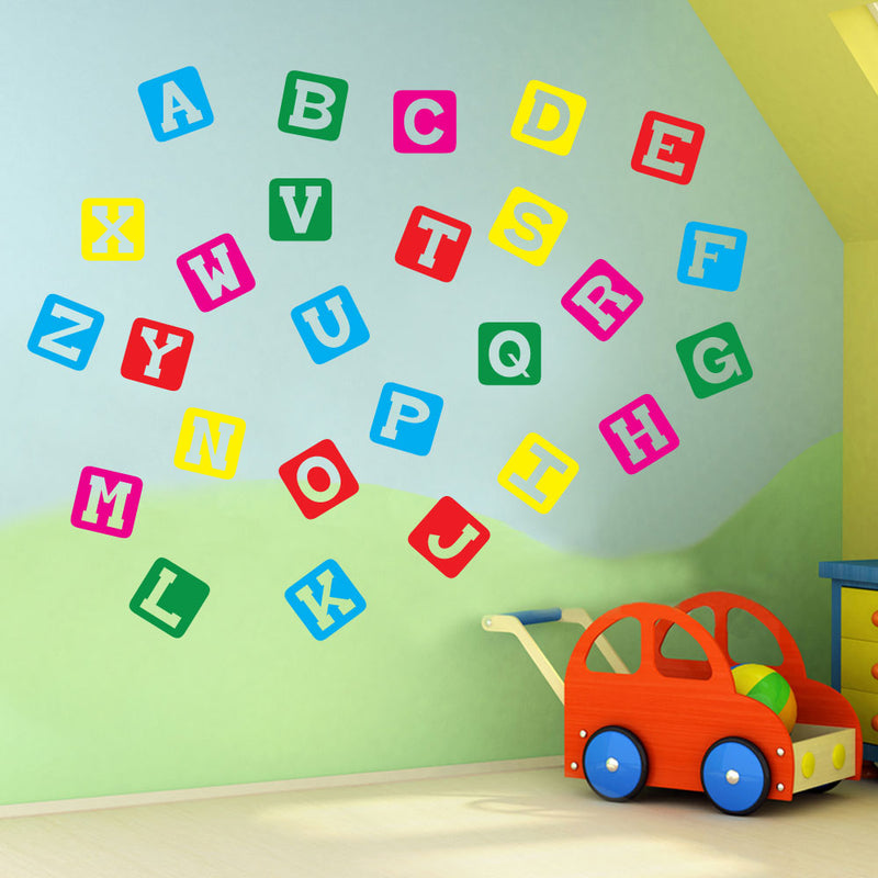 Alphabet Letters A to Z Wall Stickers Decal Nursery School Children Kids A130