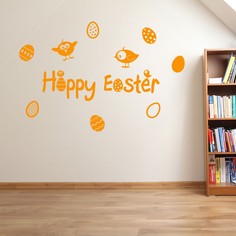 Happy Easter Eggs Stickers Decals Set Wall Window Kids Decor Fun Colourful A147
