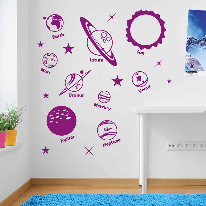 Planets Sun Solar System Space Wall Window Stickers Decals Kids Decor A135