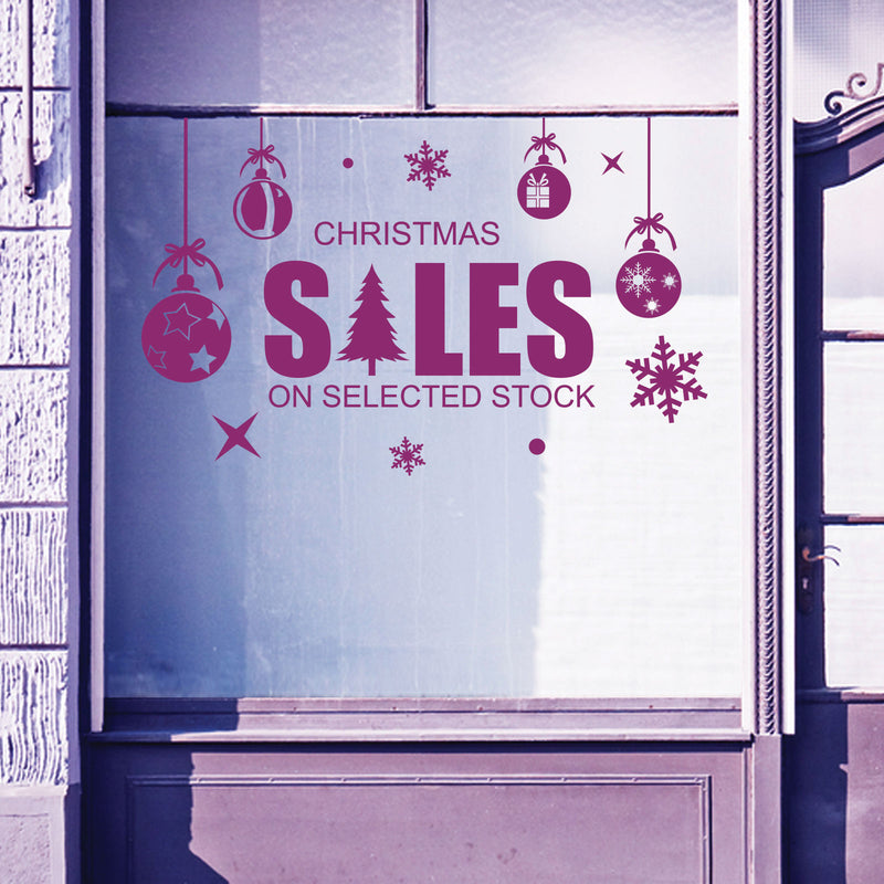Christmas Shop Window Sale Items Baubles Decal Display Wall Stickers Festive B59