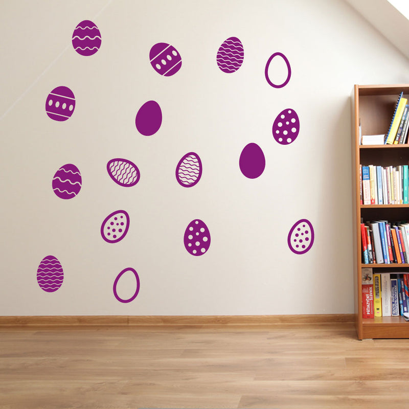 Easter Eggs Set of 16 Wall Stickers Decals Kids Decor Window Fun Colourful A146