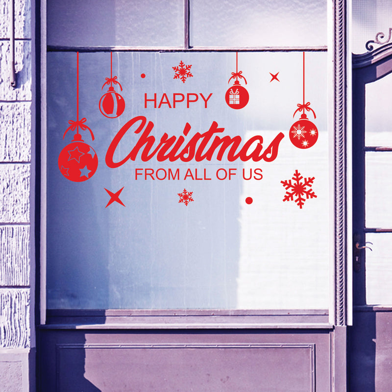Christmas Shop Window Happy Xmas Baubles Decal Display Wall Stickers Festive B58