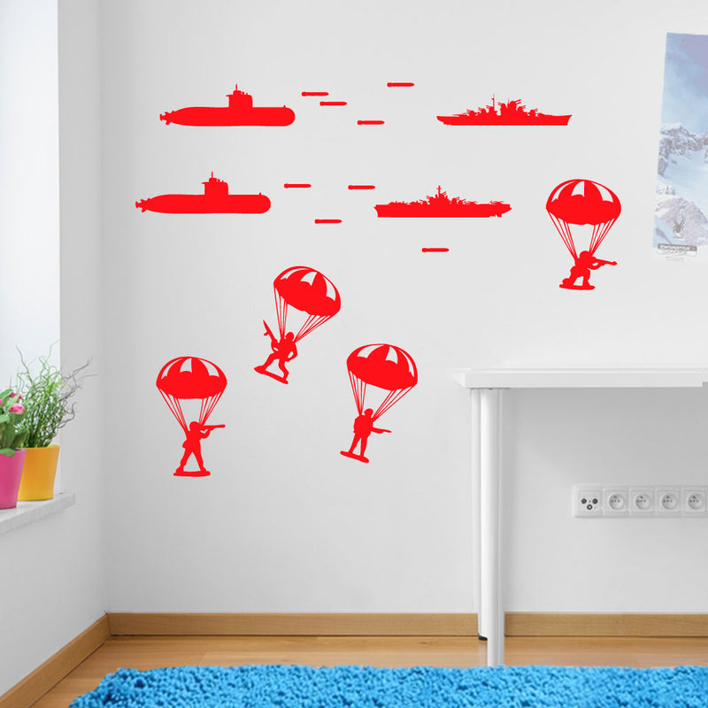 Army Military Paratroopers Submarines Wall Window Sticker Decals Kids Decor A170