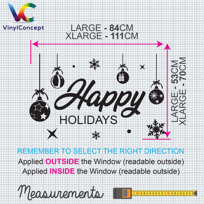 Christmas Shop Window Happy Holidays Display Xmas Wall Stickers Festive B56