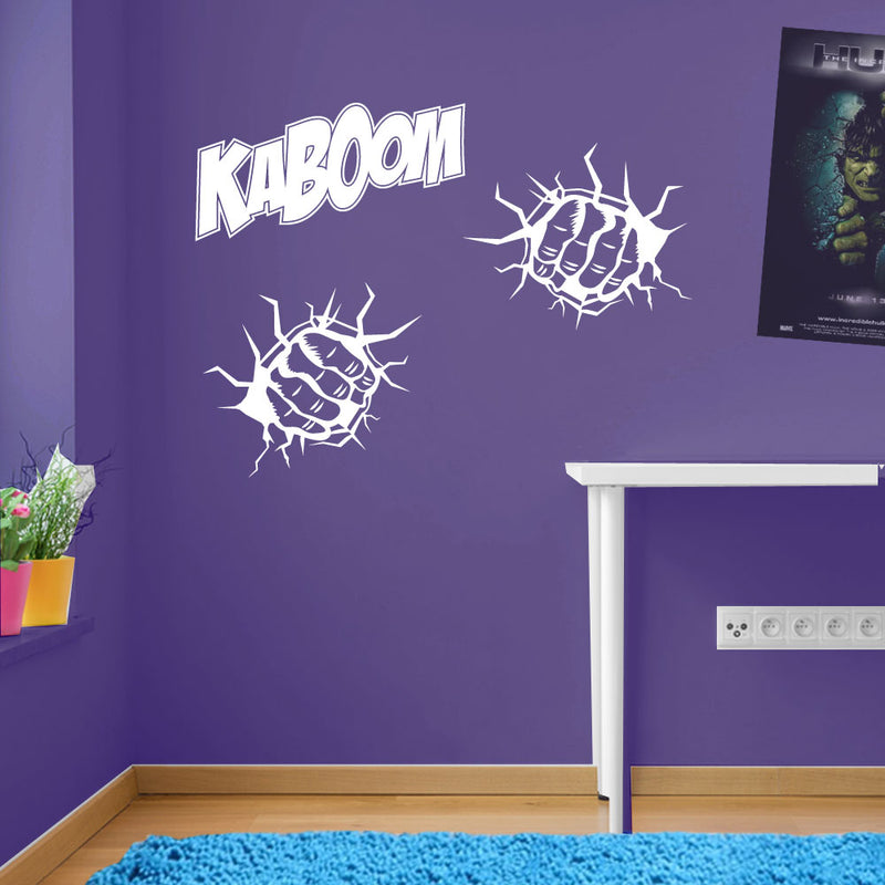 Kaboom Two Fists Hands Smash Wall Sticker Decal Kid Decor Window Colourful A162