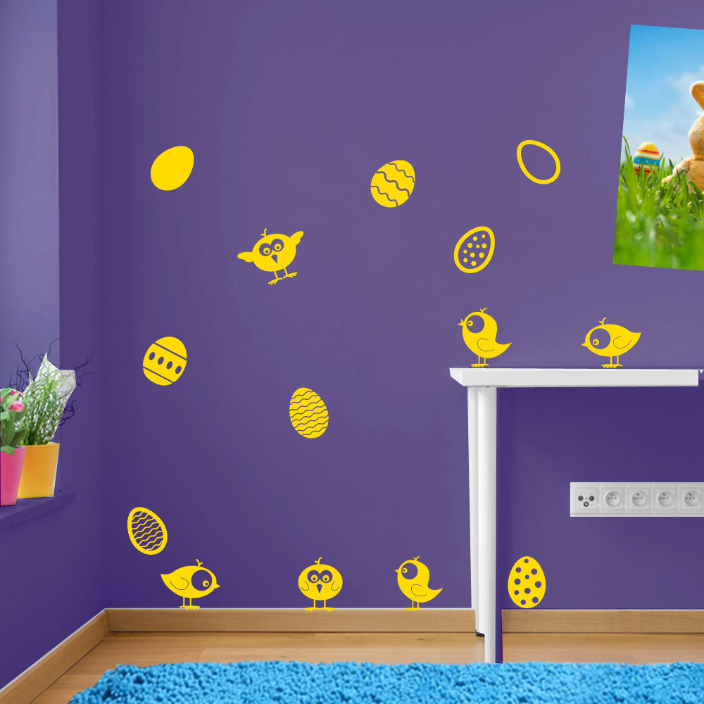 Easter Eggs Chicks Birds Sticker Decal Set Wall Window Kids Decor Colourful A150