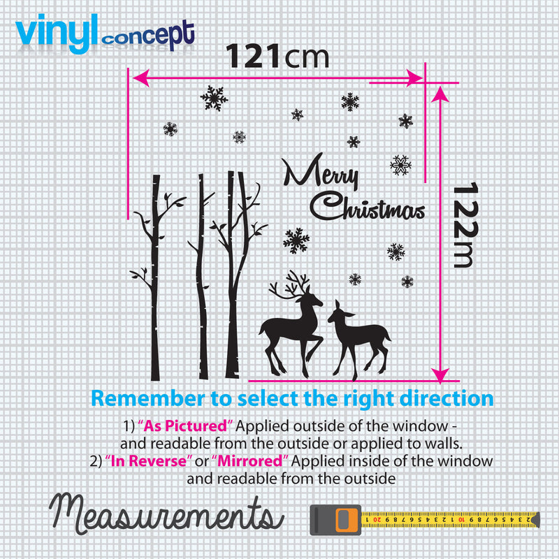 Merry Christmas Xmas Deer Display Snow Flakes Window & Wall Decals Stickers A296