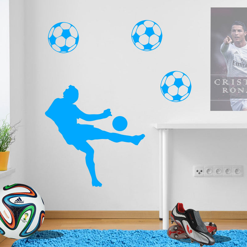 Jumping Football Player Decal A72