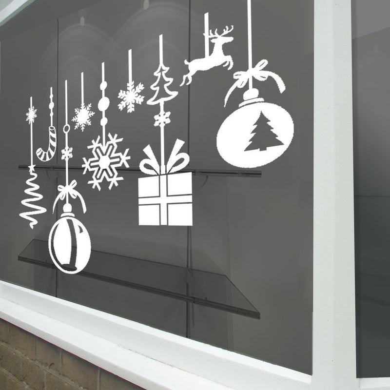 Christmas Xmas Baubles Balls Hangings Display Shop Window Decals Stickers A293