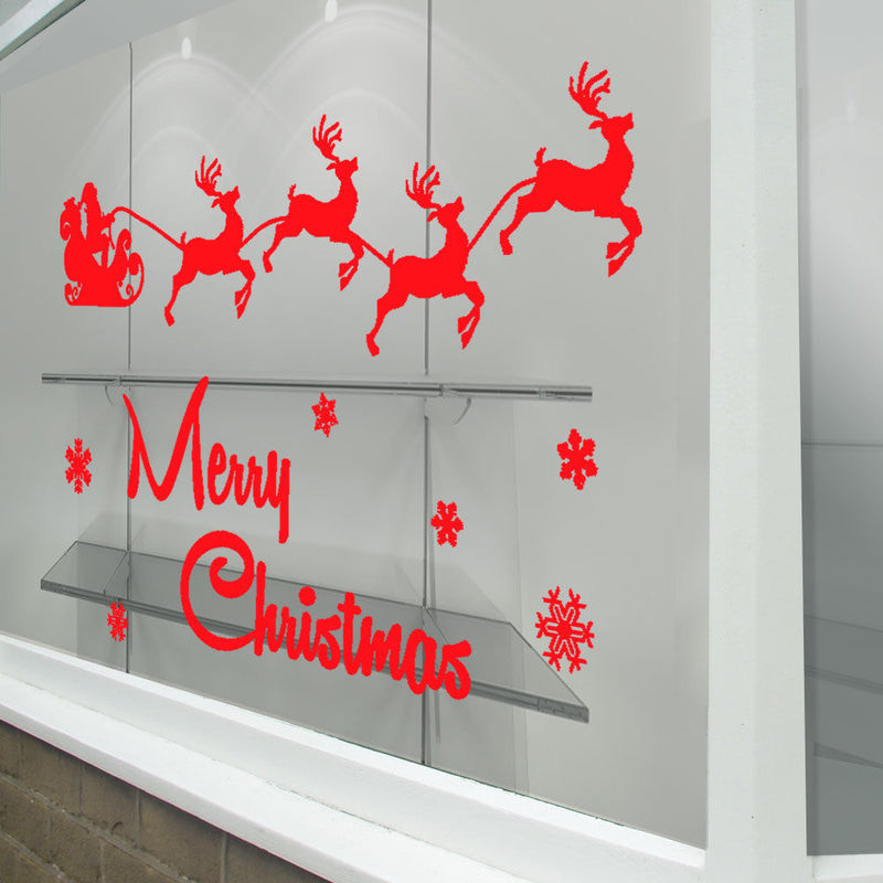Merry Christmas Xmas Santa Display Snow Flakes Window Wall Decals Stickers A297