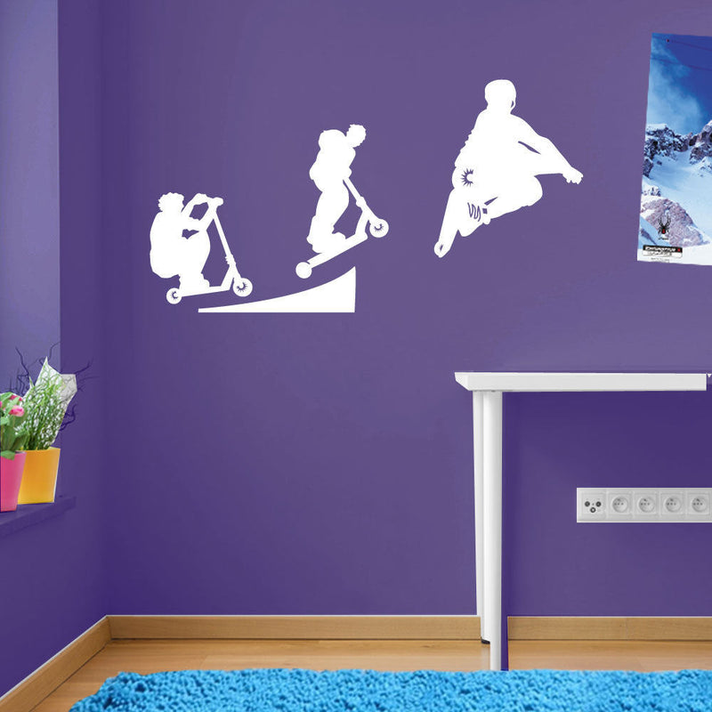 Stunt Scooter Ramp Jump Kids Style Children Street Wall Stickers Decals A109