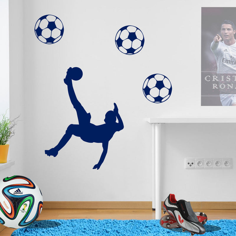 Jumping Football Player Wall Transfer A78