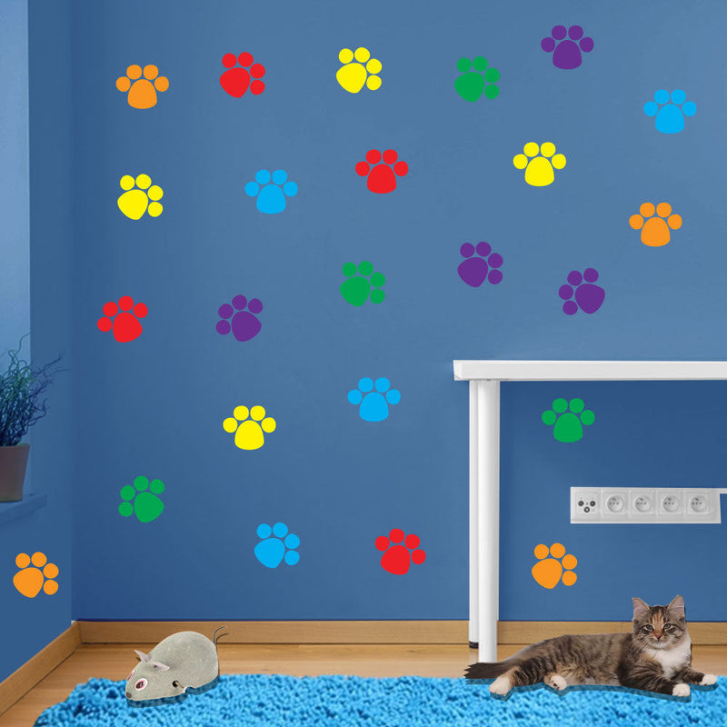 Stickers Cat Prints Paw Feet Children's Nursery Vinyl Art Decal Decor New B4