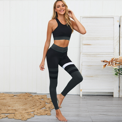 BLACK STRIPED BRA & LEGGINGS SET