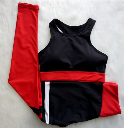 RED STRIPED BRA & LEGGINGS SET