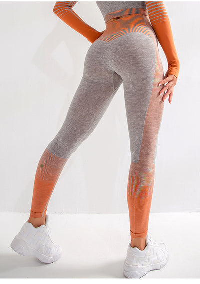 Cream Seamless Leggings - Orange