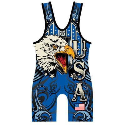 Made 4 U Blue USA Triumph Wrestling Singlet