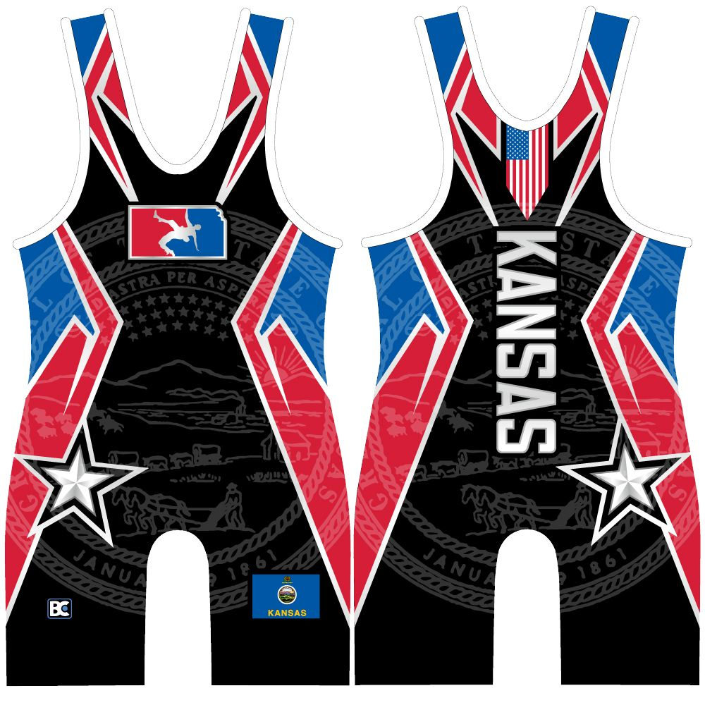 Made 4 U Kansas USA United Wrestling Singlet