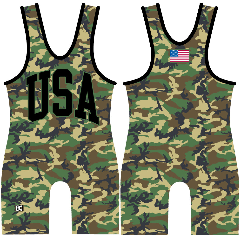 Made 4 U USA Woodland Camo Wrestling Singlet