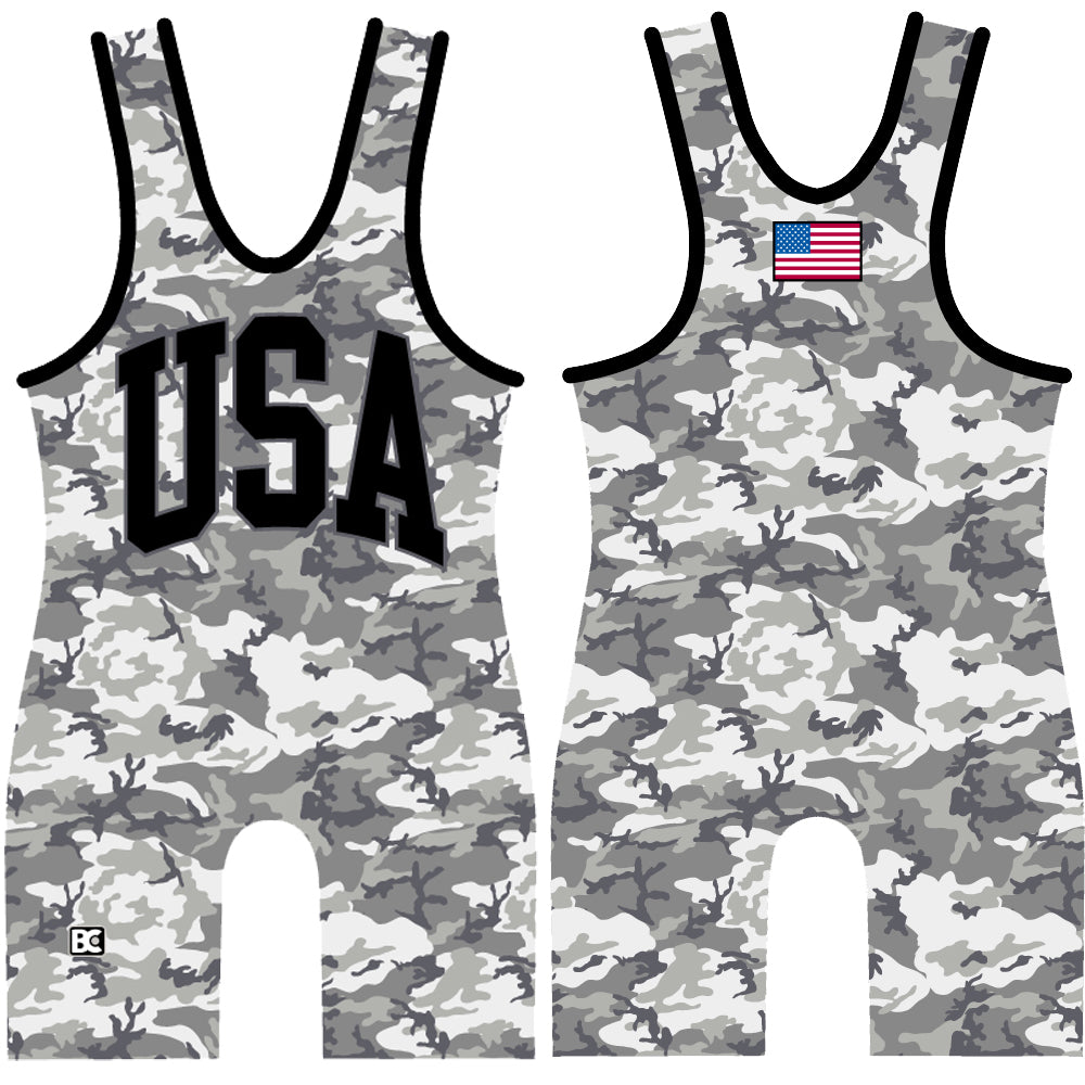 Made 4 U USA Urban Camo Wrestling Singlet