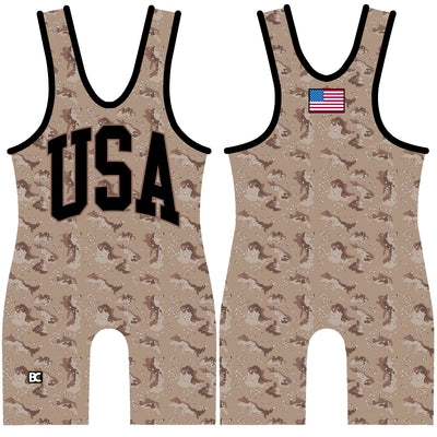 Made 4 U USA Desert Camo Wrestling Singlet