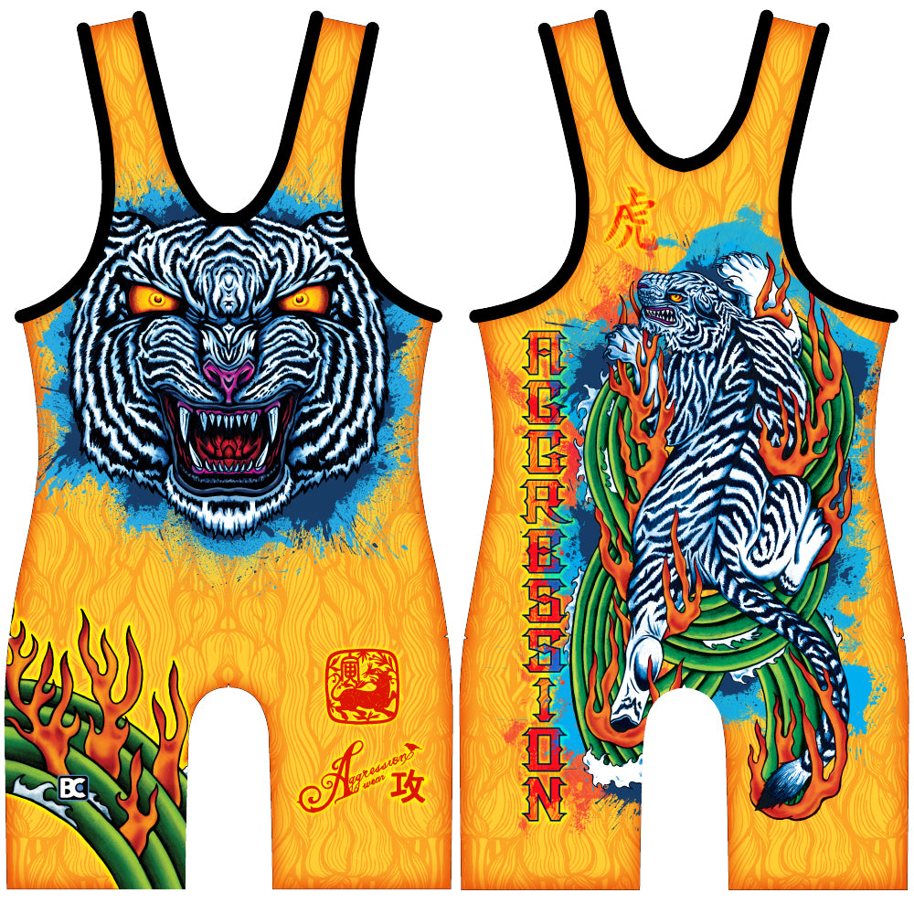 Made 4 U White Tiger Wrestling Singlet