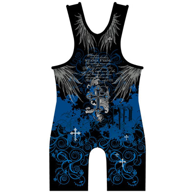 Made 4 U Blue Faith Wrestling Singlet