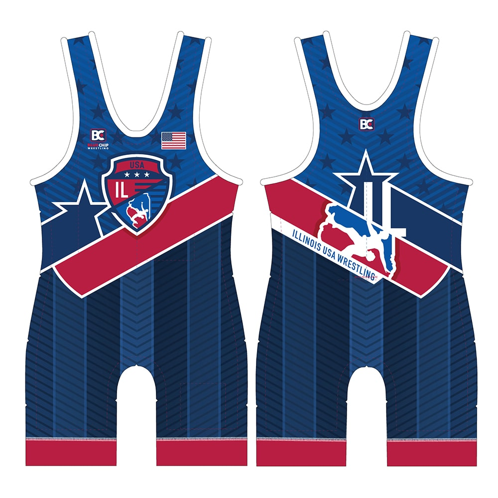 2019 Illinois USA Wrestling Singlet (Blue)