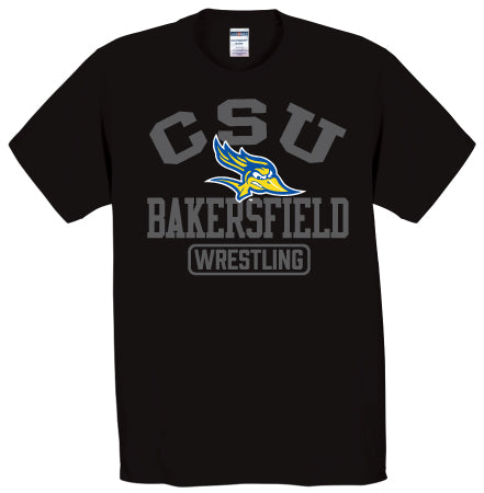 Cal State Bakersfield Mono Black Wrestling T-Shirt