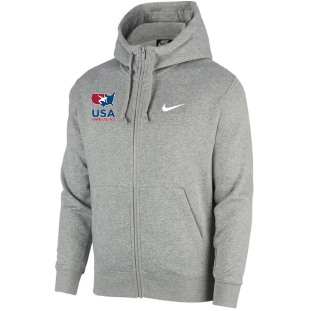 Nike USA Wrestling Club Fleece Full Zip Hoodie (Grey)