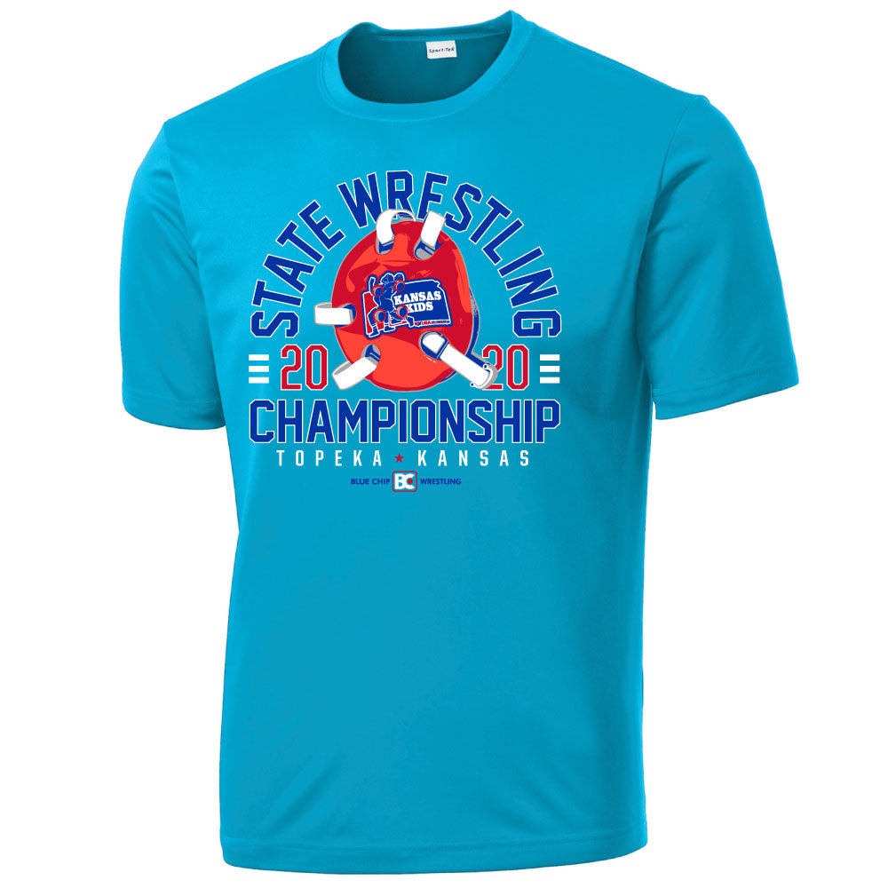2020 Kansas USA Wrestling GIRLS State Championship Aqua Performance Shirt