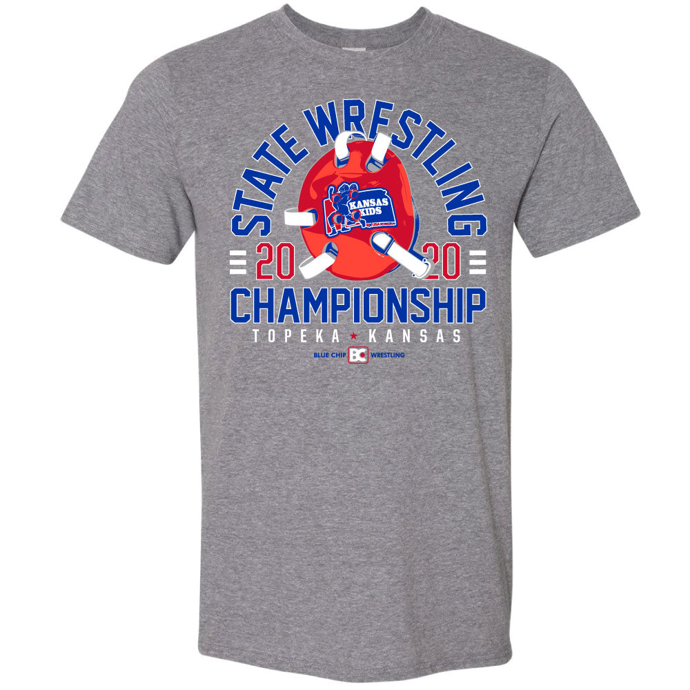 2020 Kansas USA Wrestling GIRLS State Championship Grey T-Shirt