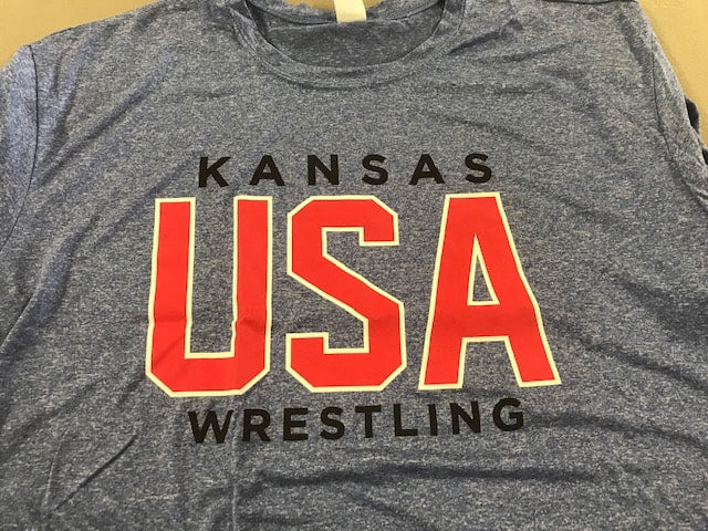 Kansas USA Wrestling Performance Tee (Grey)