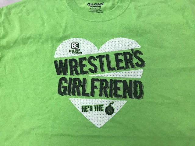 Wrestlers Girlfriend He's The Bomb Tee (Lime Green)