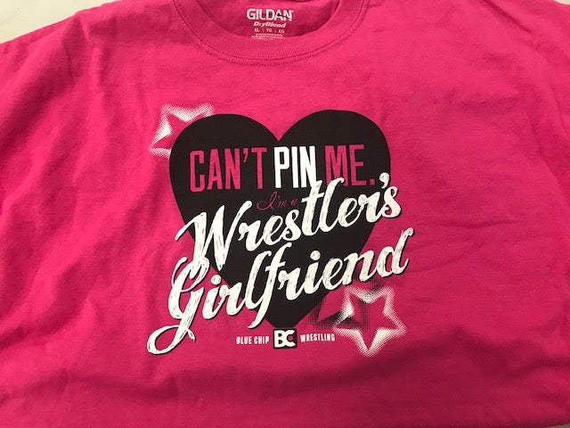 Wrestlers Girlfriend Can't Pin Me Tee (Pink)