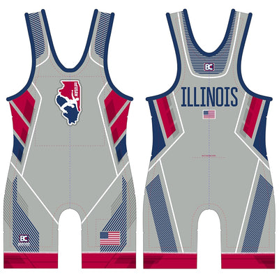 2018 Illinois USA Wrestling Singlet (Grey)
