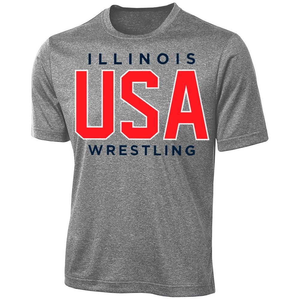 Illinois USA Wrestling Performance Tee (Grey)