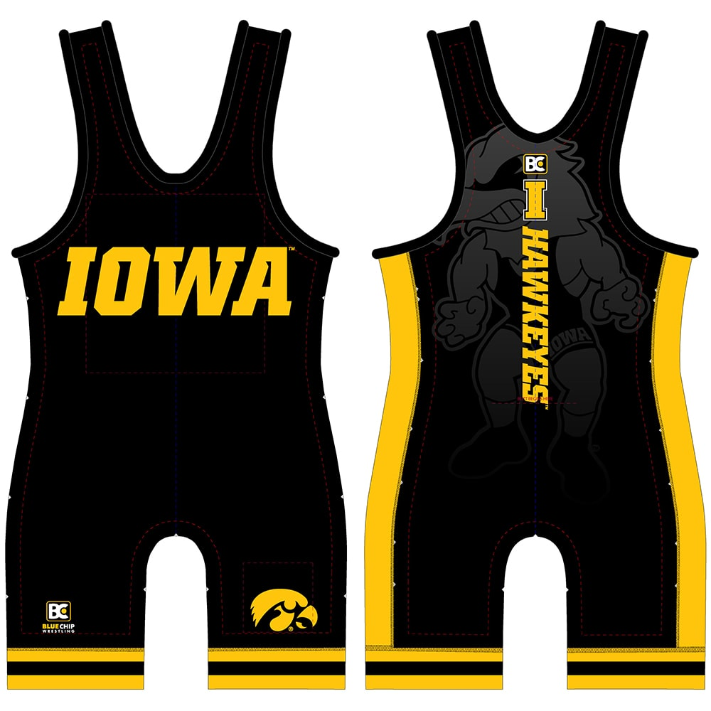 Iowa Hawkeyes Black Wrestling Singlet
