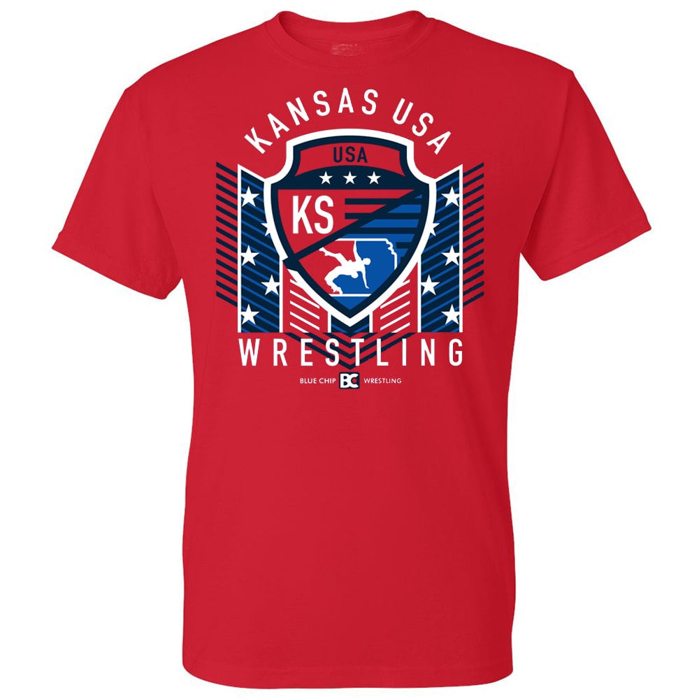 Kansas USA Wrestling Red Shield Tee