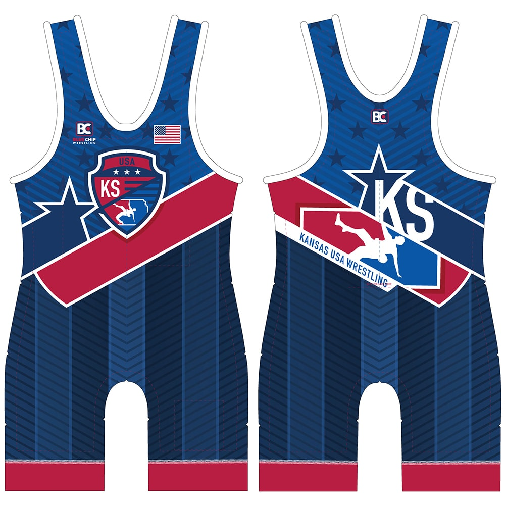 2019 Kansas USA Wrestling Singlet (Blue)